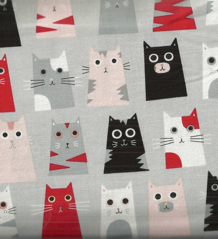 Box cats gray Timeless Treasures fabric