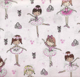Little ballerinas dancers pink metallic glitter Timeless Treasures fabric