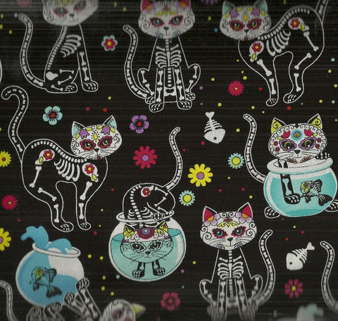 Cat skeletons and fishbowls Timeless Treasures fabric