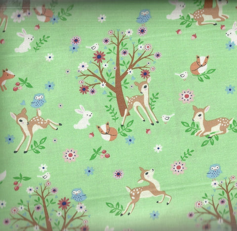 Woodlands deer trees bunnies mint green Timeless Treasures fabric