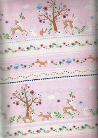 Woodland pink deer bunnies stripe Timeless Treasures fabric