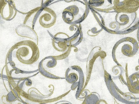 Cream vines swirly scroll metallic Timeless Treasures