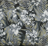 Fern black metallic Timeless Treasures fabric