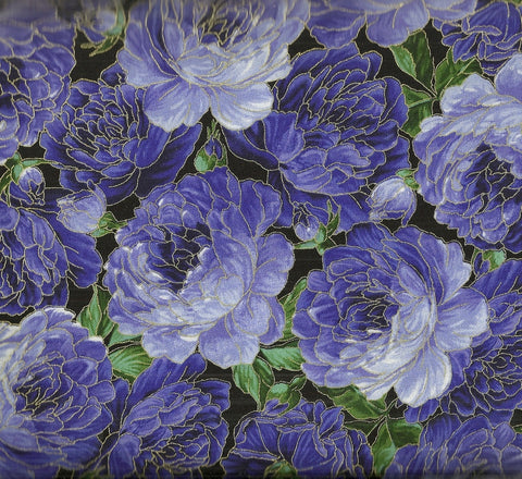 Purple packed roses metallic floral Timeless Treasures fabric