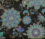 Ornate floral medallions black Timeless Treasures fabric