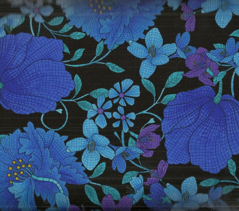 Mosaic floral plume black Timeless Treasures fabric