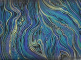 Abstract marbling peacock metallic Timeless Treasures fabric