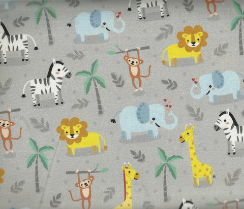 Safari Soiree tropical animals gray Kaufman fabric