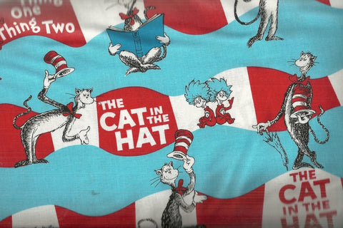 Cat in the Hat stripe Dr Seuss Kaufman fabric
