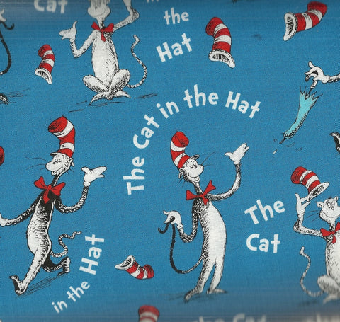 Cat in the Hat blue Dr Seuss Kaufman fabric