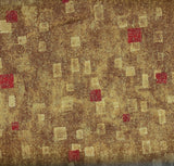Gustav Klimt metallic gold red Kaufman fabric