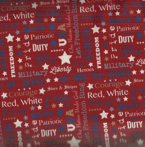 Quilts of Valor red patriotic words River Bend fabric