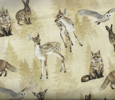 Animal Kingdom tossed wildlife Kaufman fabric