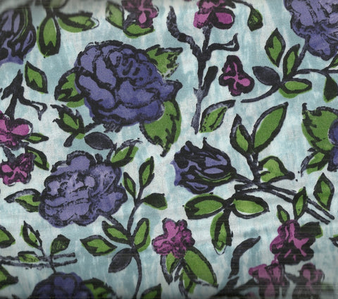 Floribunda blue purple flowers floral RJR fabric