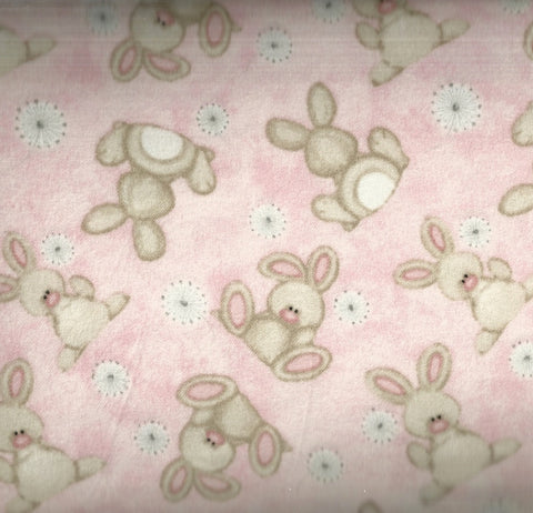 Fluffy Bunnies pink childrens flannel fabric