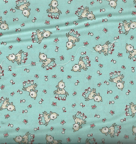 Everything but the Kitchen Sink XIII  30s reproduction green lambs RJR fabric