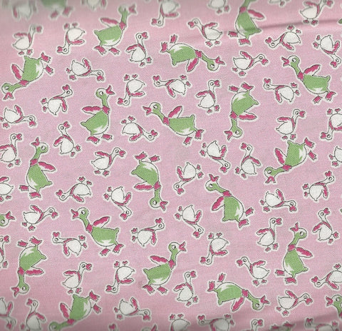 Everything but the Kitchen Sink XIII  30s reproduction pink geese floral RJR fabric