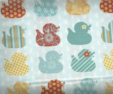 Ducky Tales  jade ducks in a row Studio E childrens fabric