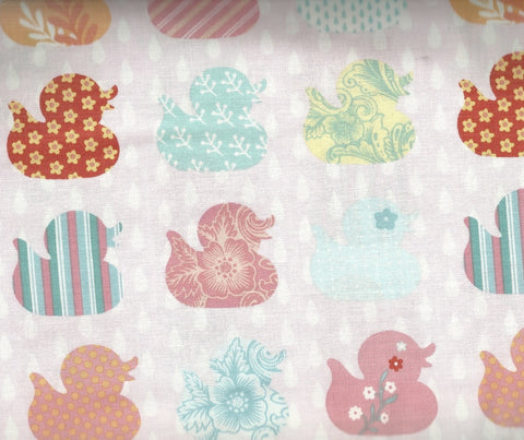 Ducky Tales pink ducks in a row Studio E childrens fabric