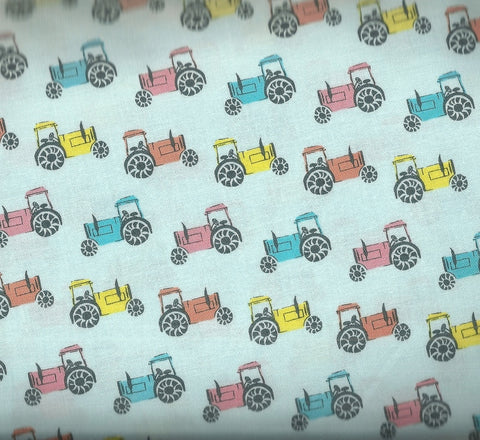 On the Farm tractors blue Dear Stella fabric