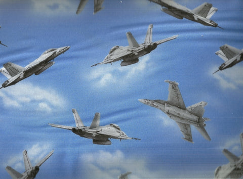 Air Show military fighter jet blue Studio E fabric