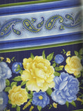 Angelica navy blue yellow floral stripe Timeless Treasures fabric