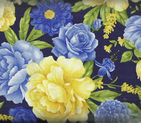 Angelica navy blue yellow floral Timeless Treasures fabric