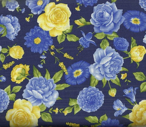 Angelica midnight blue yellow floral Timeless Treasures fabric