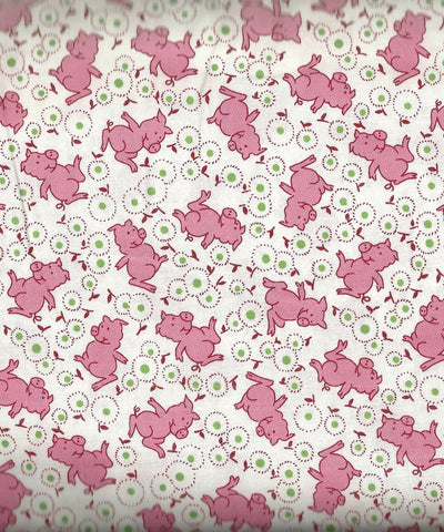 Storybook Ranch pink pigs 30s reproduction Windham fabric