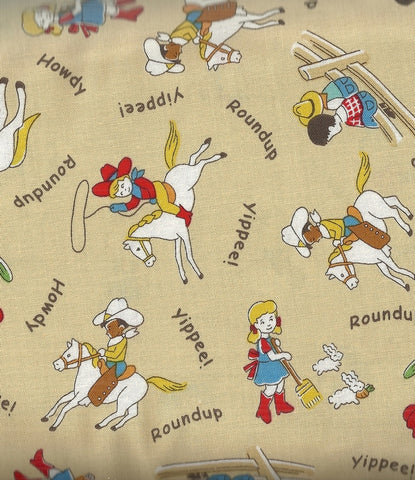 Storybook Ranch tan cowboy kids 30s reproduction Windham fabric