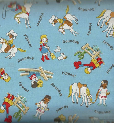 Storybook Ranch blue cowboy kids 30s reproduction Windham fabric