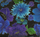 Night black purple blue allover flowers metallic Timeless Treasures fabric