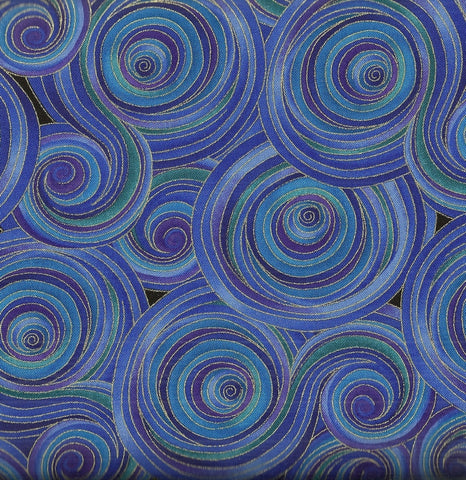 Night allover circles multi purple blue metallic Timeless Treasures fabric
