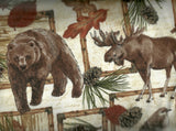 Cabin deer, bear, moose patch flannel wildlife Timeless Treasures fabric