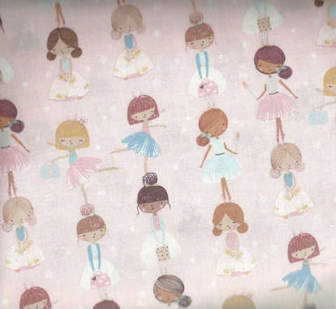 Dear Stella blush pink ballerina girls childrens fabric