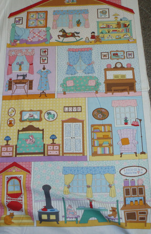 Penny's Dollhouse 24 inch sweet doll house Kaufman panel