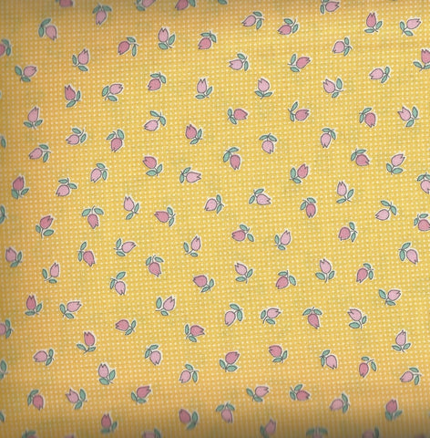 Penny's Dollhouse  paper dolls Kaufman screamin yellow rosebuds fabric