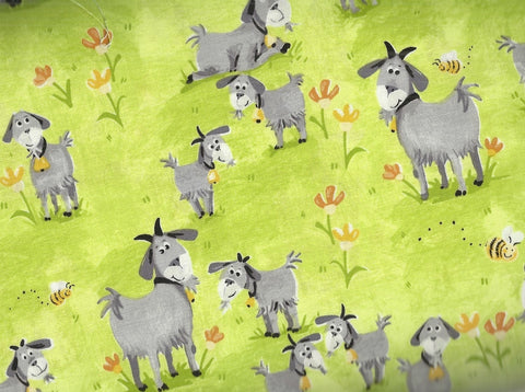 Hildy the Goat green Susybee farm fabric