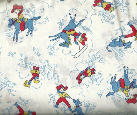 Storybook Ranch white cowboy kids 30s reproduction Windham fabric