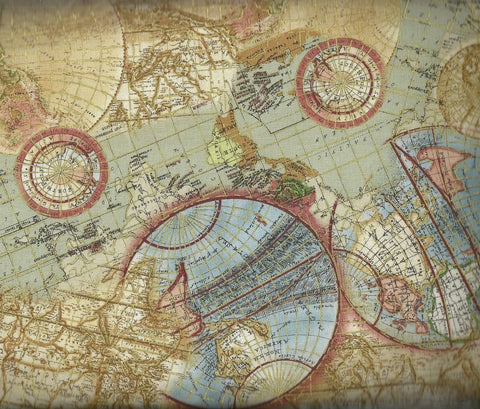 World globe metallic map Timeless Treasures fabric