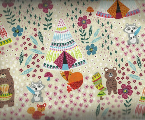 Dream Away teepees and forest animals Timeless Treasures fabric