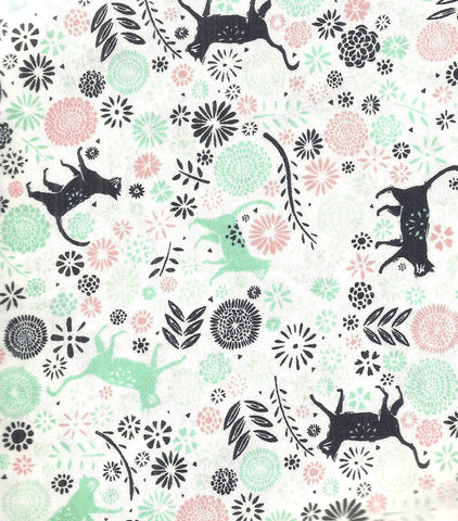 Urban Jungle Cats in Garden white Camelot fabric