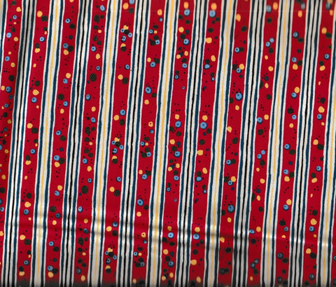 Round Up western children stripe red retro Rivers Bend fabric