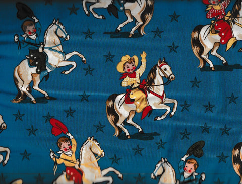 Round Up western children blue cowboys retro Rivers Bend fabric
