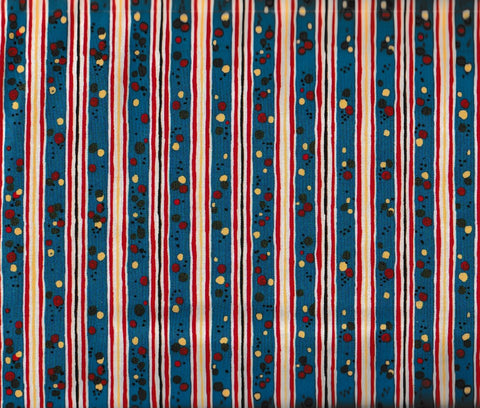 Round Up western children stripe blue retro Rivers Bend fabric