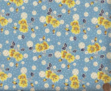 Everything but the Kitchen Sink 1930s floral reproduction blue yellow RJR fabric