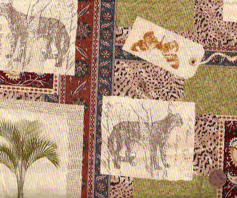 Antique Africa jungle scenes tiger Henry Glass fabric
