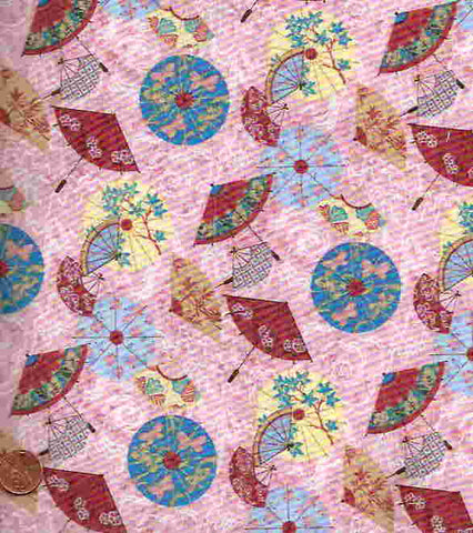 Asian Pacific pink parasols oriental Henry Glass fabric