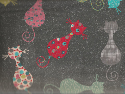 Atomic Rival funky green cats Rivers Bend fabric