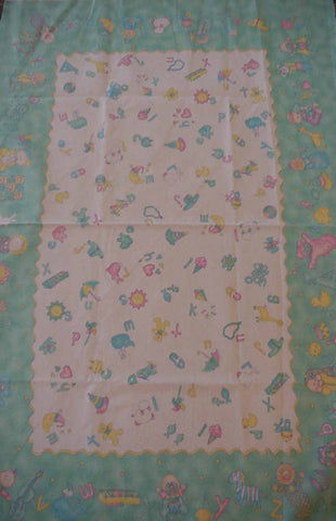 Baby Talk letters toys crib quilt flannel panel Moda green